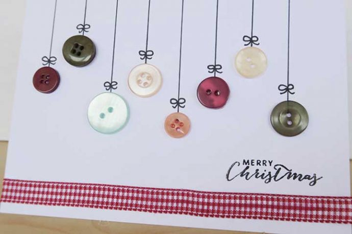 Homemade Christmas card design using assorted colour buttons