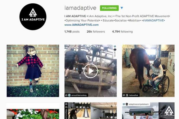 Screenshot from I AM ADAPTIVE Instagram account, showing pictures of a happy girl wearing a prosthetic, men with prosthetics climbing an obstacle course, a wheelchair user replacing a horse's shoe in a barn