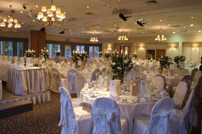 Wedding reception setting in a ballroom