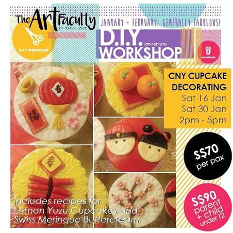 Photo collage of Chinese New Year-themed cupcakes