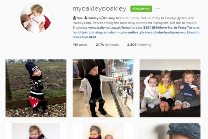 Screenshot of 16-month-old Oakley Lynch's Instagram account, featuring pictures of the boy and his siblings looking incredibly dapper
