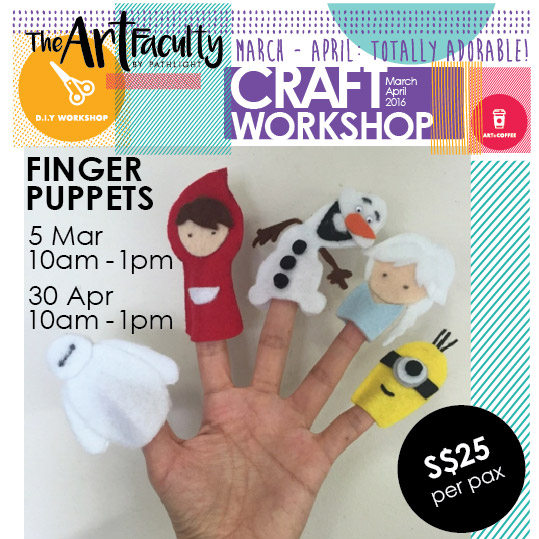 5 cartoon finger puppets made from felt