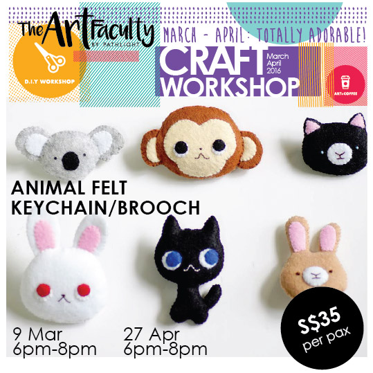 6 animal keychains and brooches made from felt