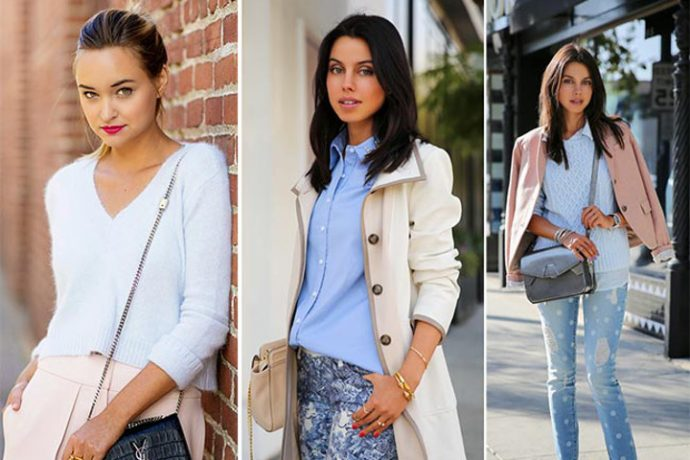 Various ensembles of pastel. From left: Baby blue v-necked sweater with pastel-pink skirt; blue blouse, pants with blue chintz print and beige overcoat; blue sweater, poker-dot washed denim bottom and pink-beige blazer