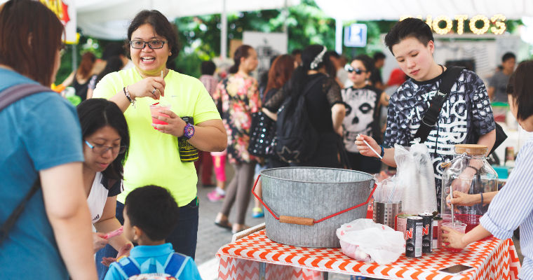 Visitors cooling off at one of the beverage stalls at the Everyday Folk Market on 23 Apr 2016