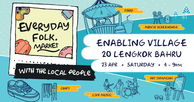 Promotional graphic banner for the Everyday Folk Market, happening on 23 Apr 2016