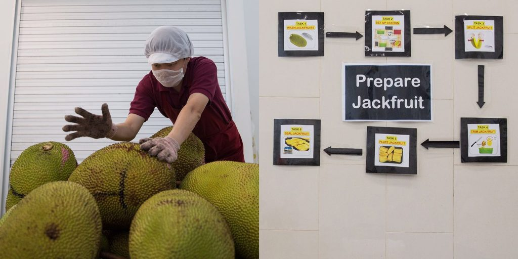 Left: Wearing a hair net, face mask and gloves, Bruce begins to handle the day's load of jackfruits; Right: An illustrated guide describing the six steps of processing a jackfruit