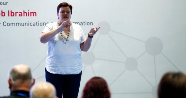 Photo of Ms Robyn Chapman speaking at the E2 Connect forum