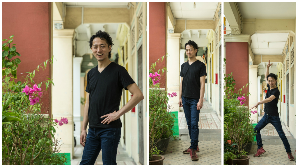 Hiroki Sato posing in the neighbourhood of the Flamenco Sin Fronteras dance studio