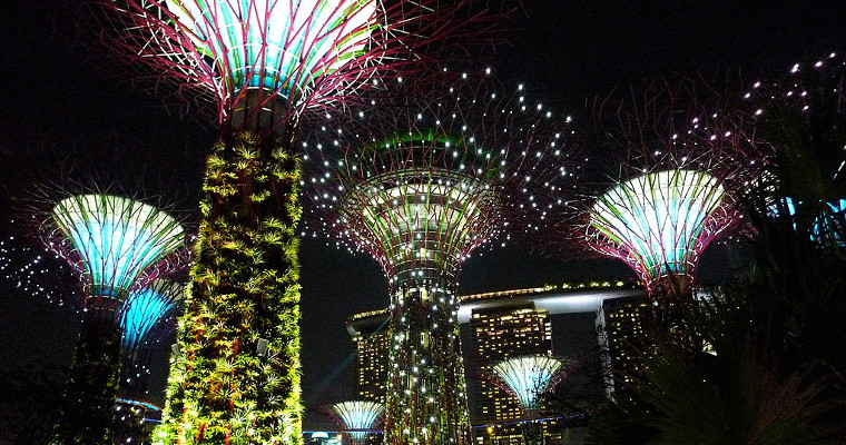 Illuminated skytrees at the Gardens by the Bay, Singapore