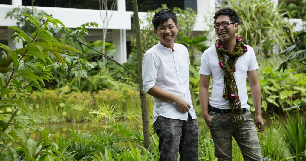 Photo of Mr Chang Huai Yan, founder and director of Salad Dressing, with Mr Wong Qing Xian, landscape designer