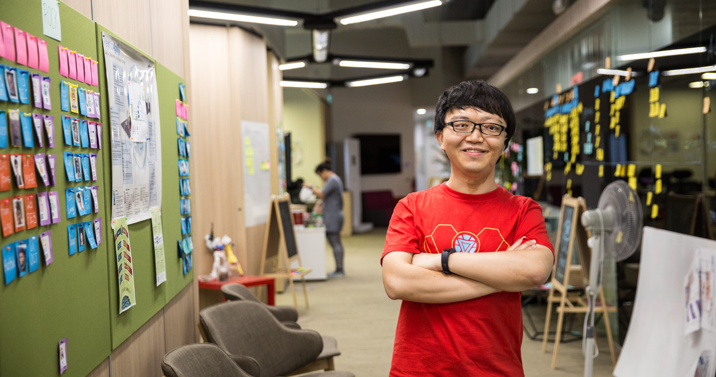 Photo of Zui Young posing at GovTech's Common Room