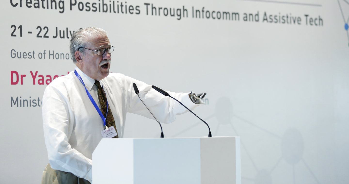 Photo of Mr John D Kemp, president and chief executive at the Henry Viscardi School, speaking at the E2Connect Conference