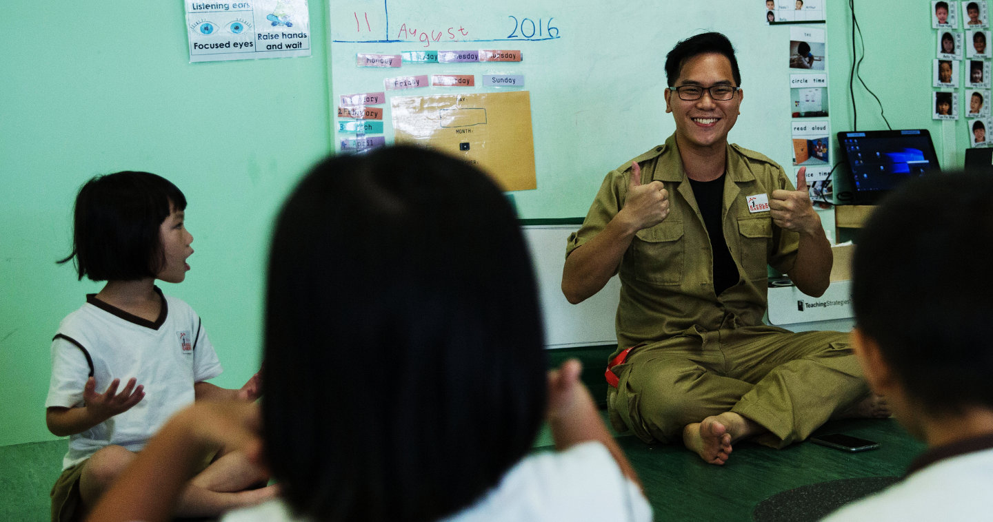 Daniel Ong, 32, leading a class at Kindle Garden, Singapore's first inclusive preschool
