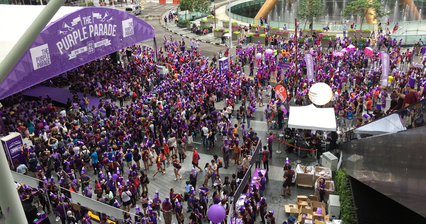 Photo of crowds at Purple Parade 2016