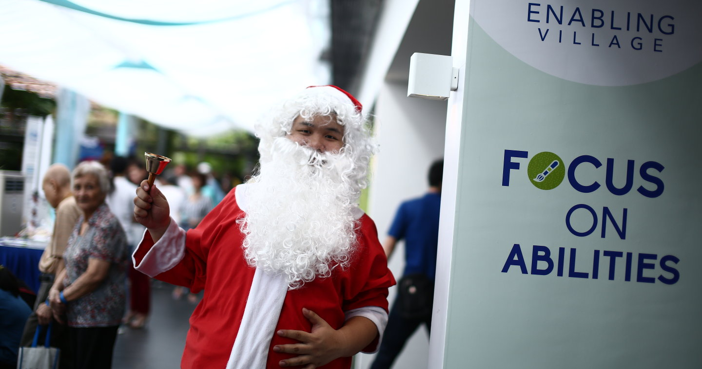 Photo of Santa Claus at the Enabling Village