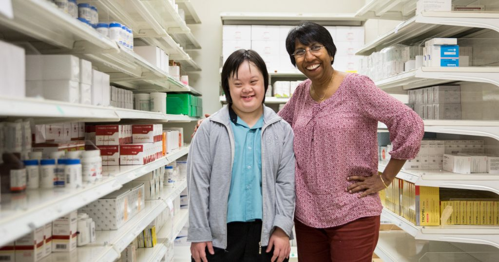 Photo of Jia Yi and her supervisor K Thanaletchimi at the NUH pharmacy store
