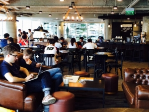 Photo of Starbucks at Fullerton Waterboat House. It's the first store in Singapore to collaborate with the Autism Resource Center (ARC) Employability and Employment Center (E2C) to train people with autism.