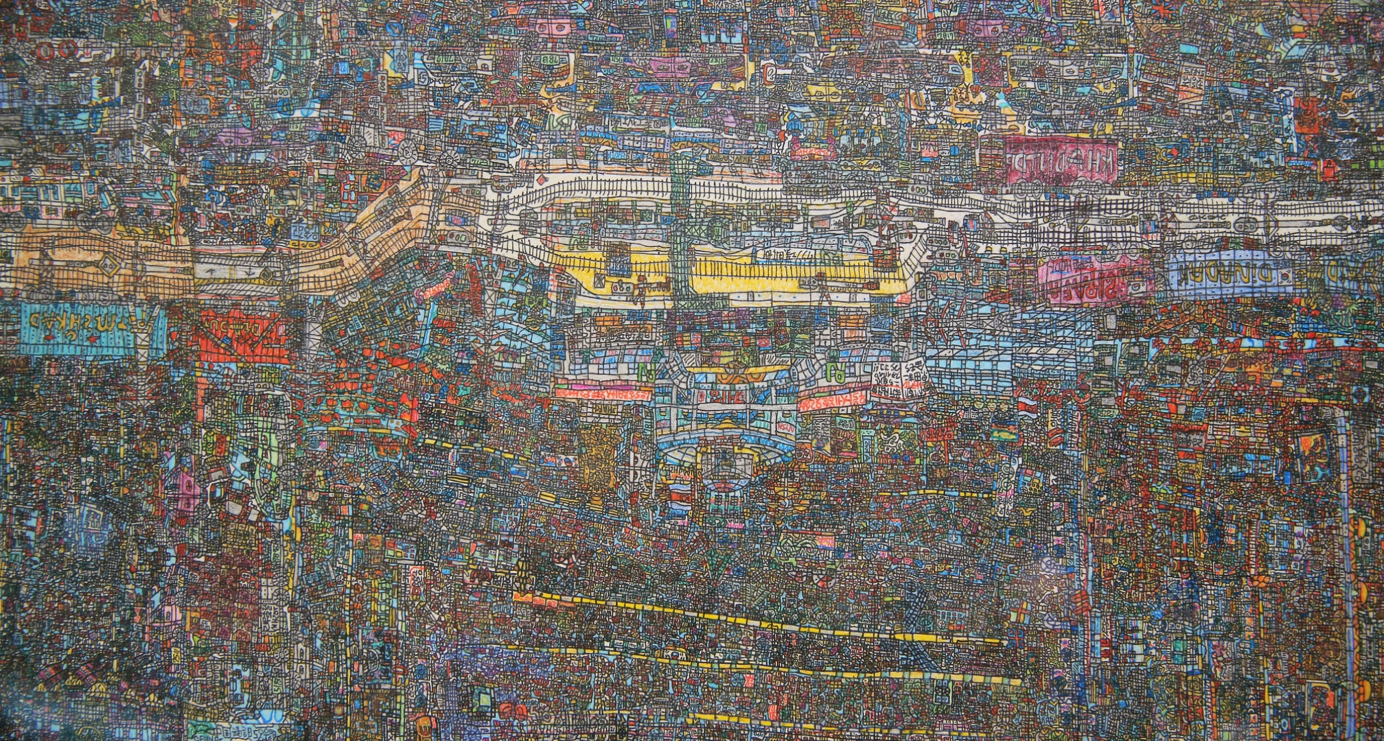 Close up of a 140cm by 30cm piece titled 'Kaesong Industrial Park'. Kaesong is a joint inter-Korean economic project located just across the demilitarised zone in North Korea.