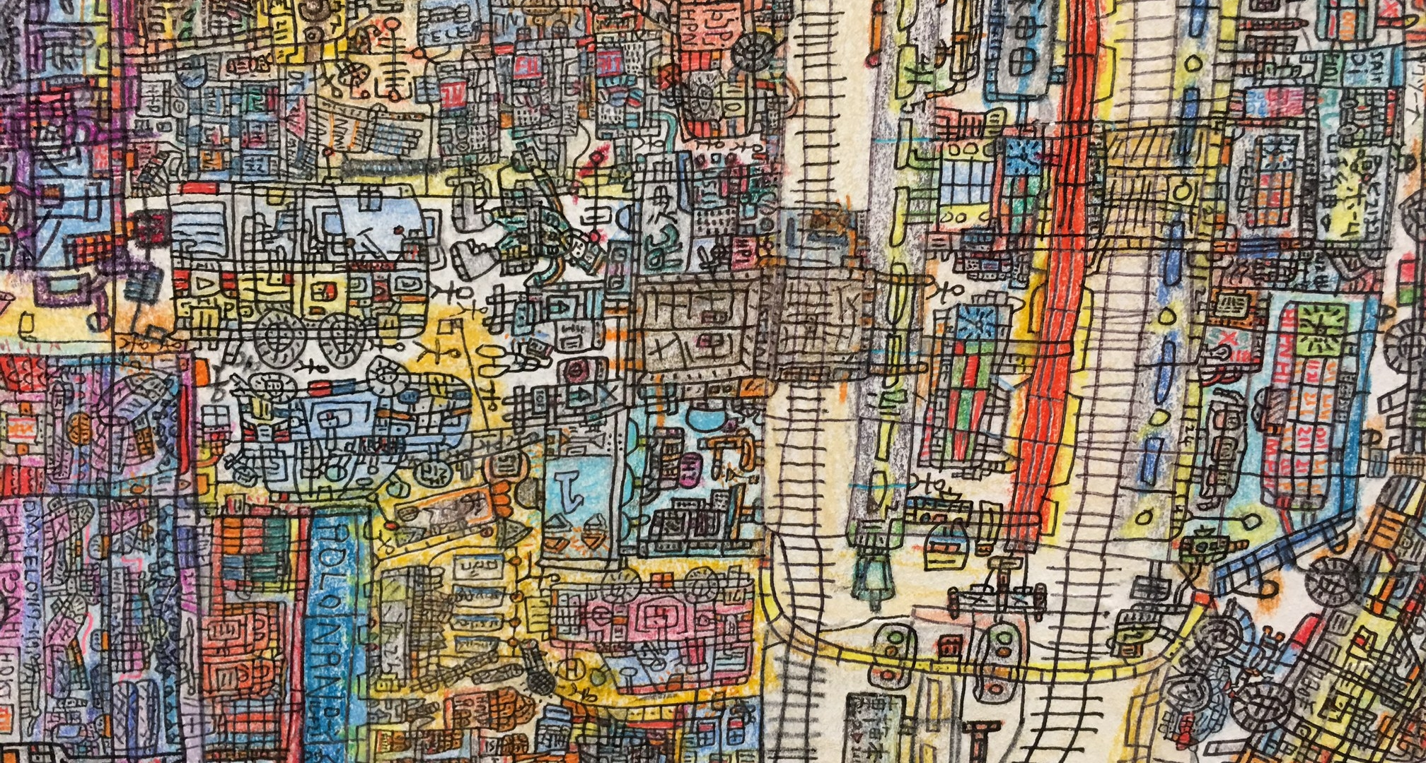 Detail of 'Modern Vibrant City', depicting the influence of the modern west on the Japanese middle class.
