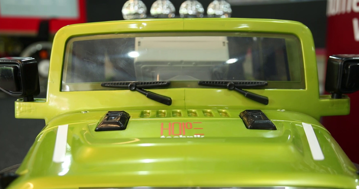 Frontal photo of modified motorised ride on jeep
