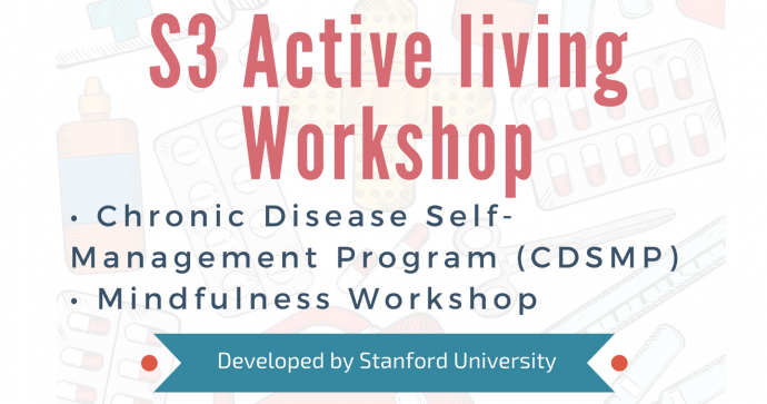 Banner for S3's active living workshop