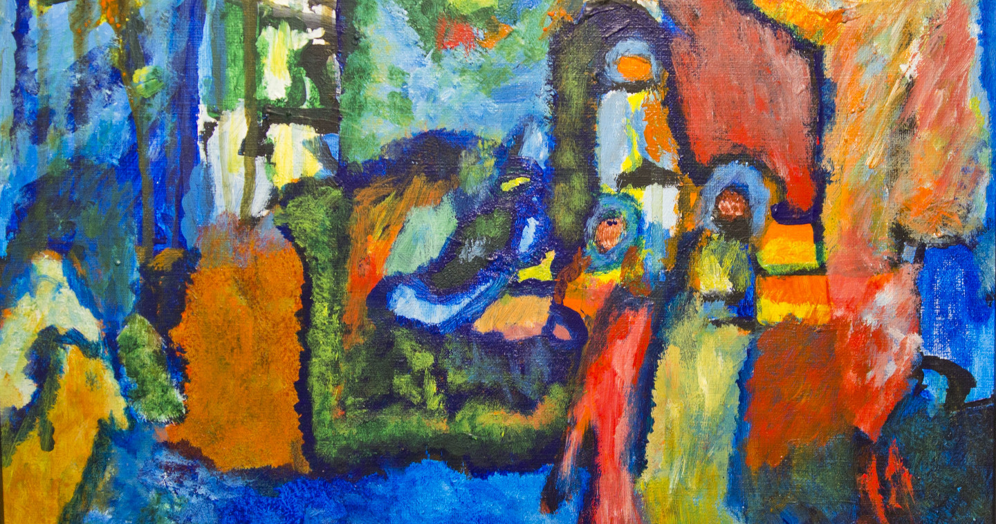 """Detail of """"Village by Night"""" by Cavan Chang Kheng Song. 36 by 27cm. Acrylic"""