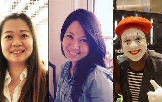 Presenters at Storytelling Festival. From left: Lily Goh, deaf musician/songwriter; Pamela Lie, art therapist; Gophi Nathan, mime artist