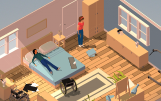 Screenshot of Enabler app. The game screen shows an isometric view of a room with you and your wheelchair-using friend