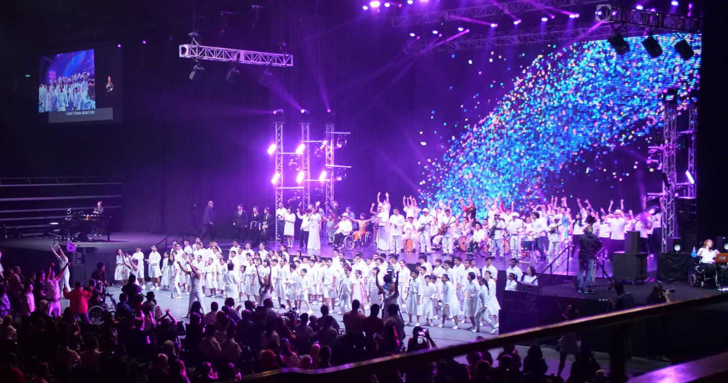 Photo of finale at indoor concert, True Colours Festival, 23 March 2018