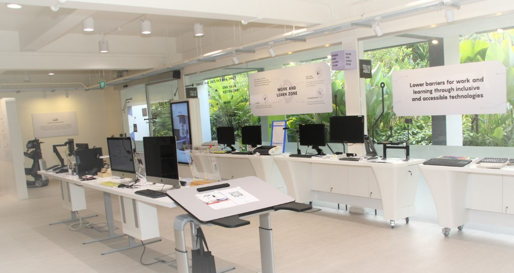 Work and Learn Zone of Tech Able features widened walkways and assistive technology devices on display for self-exploration.